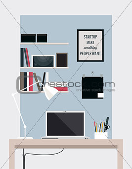 Flat home office interior illustration with desktop
