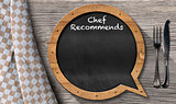 Chef Recommends - Blackboard Speech Bubble Shaped