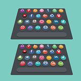 Vector flat modern keyboard, social buttons. Material design