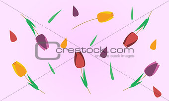 Abstract pink background with tulips and leafs