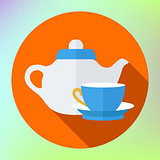 teapot cup icon. Kettle Tea