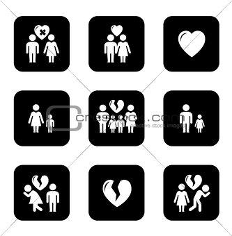 couple breakup, divorce black icons set