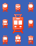 set trains on blue background