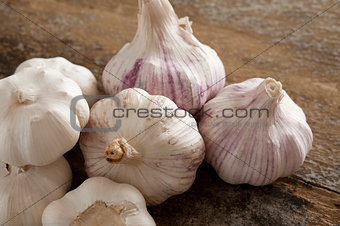 Group of fresh garlic bulbs