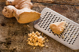 Fresh ginger root and grater