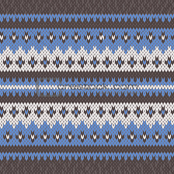 Knitted Seamless Pattern in Blue, White and Grey