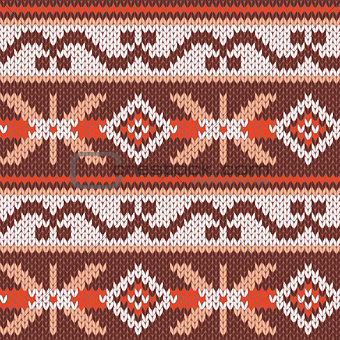 Knitted Seamless Pattern in warm colors