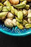 Various Cardamom Spices in Authentic Turkish Bowl