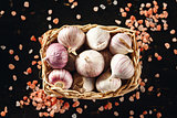 Garlic Close Up with Pink Himalayan Salt