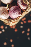 Food Background with Garlic Close Up