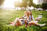 Two Beautiful Young Girls on Picnic