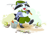 Scout goes fishing. Raccoon scout carries bucket of fish. Fisherman with fishing rod