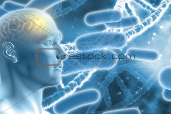 3D male figure with brain on DNA medical background
