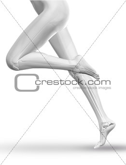 3D Female figure running with skeleton