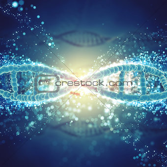 3D medical background with DNA strands