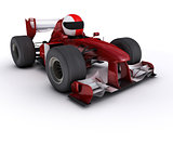 Morph man with open wheeled racing car