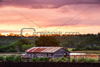 Abandoned farming shed in the country