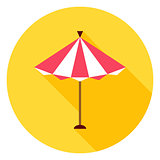 Beach Sun Umbrella Circle Icon