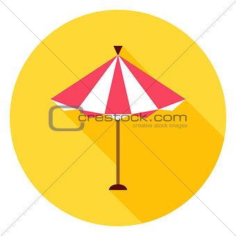 Beach Sun Umbrella Circle Icon