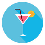 Cocktail Alcohol Drink Circle Icon