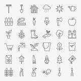 Garden Flower Line Art Design Icons Big Set