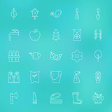 Garden Spring Line Icons Set over Blurred Background