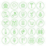 Line Circle Spring Gardening Tools Icons Set
