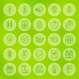 Line Circle Web Gardening and Flowers Icons Set