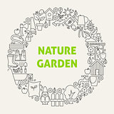 Nature Garden Line Art Icons Set Circle