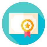 Paper Diploma with Award Circle Icon