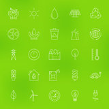 Save the Nature Eco Line Icons Set over Blurred Background