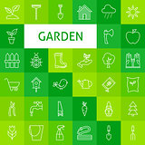 Vector Line Art Garden and Flowers Icons Set