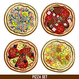 set of four pizzas