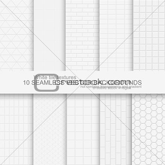 10 white tile backgrounds