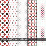Seamless vector patterns with circles and dots.