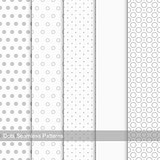 Set of seamless patterns with circles and dots.