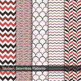 Set of vector geometric seamless patterns