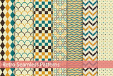 Collection of retro seamless patterns.