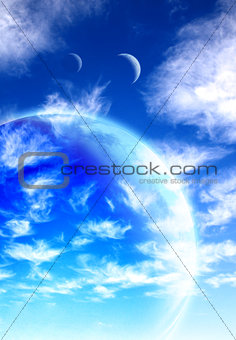 Beautiful sky, cloud and planet
