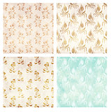 Set of grunge backgrounds with paper texture and floral pattern