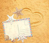 Retro pastcard, starfish and shells on sand texture