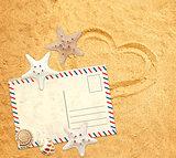 Retro pastcard, starfish and shells on sand texture