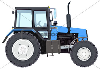 Blue new tractor. Agricultural machinery. Wheeled tractor