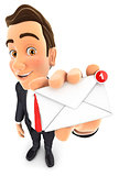 3d businessman receiving one new message