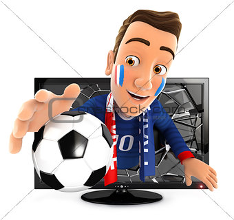 3d french soccer fan coming out of television