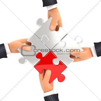 3d hands assembling jigsaw puzzles
