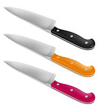 Chef knife with handle in different color
