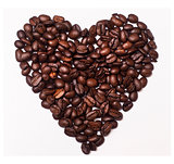 I Love Coffee - heart made of Coffee Beans