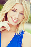 Instagram Style Portrait Beautiful Blond Woman With Blue Eyes