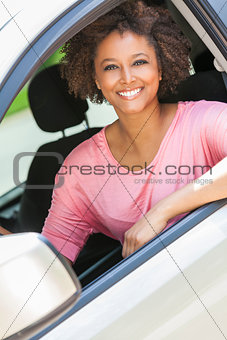 African American Girl Young Woman Driving Car